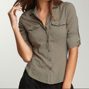 James Perse Contrast Ribbed Surplus Button Up Top